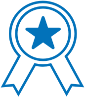 The CastleBranch Difference-Corporate Learnings and Best Practices Model icon of an award ribbon with a star in the center