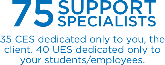 75 Support Specialists— 35 CES dedicated only to you, the client. 40 UES dedicated only to your students/employees.