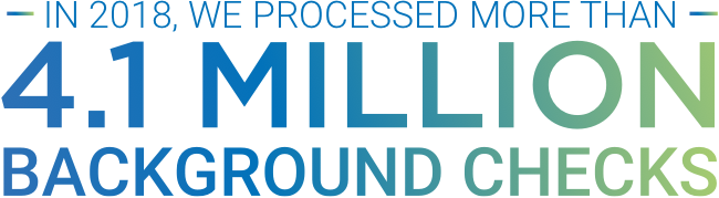 In 2018, we processed more than 4.1 million background checks.